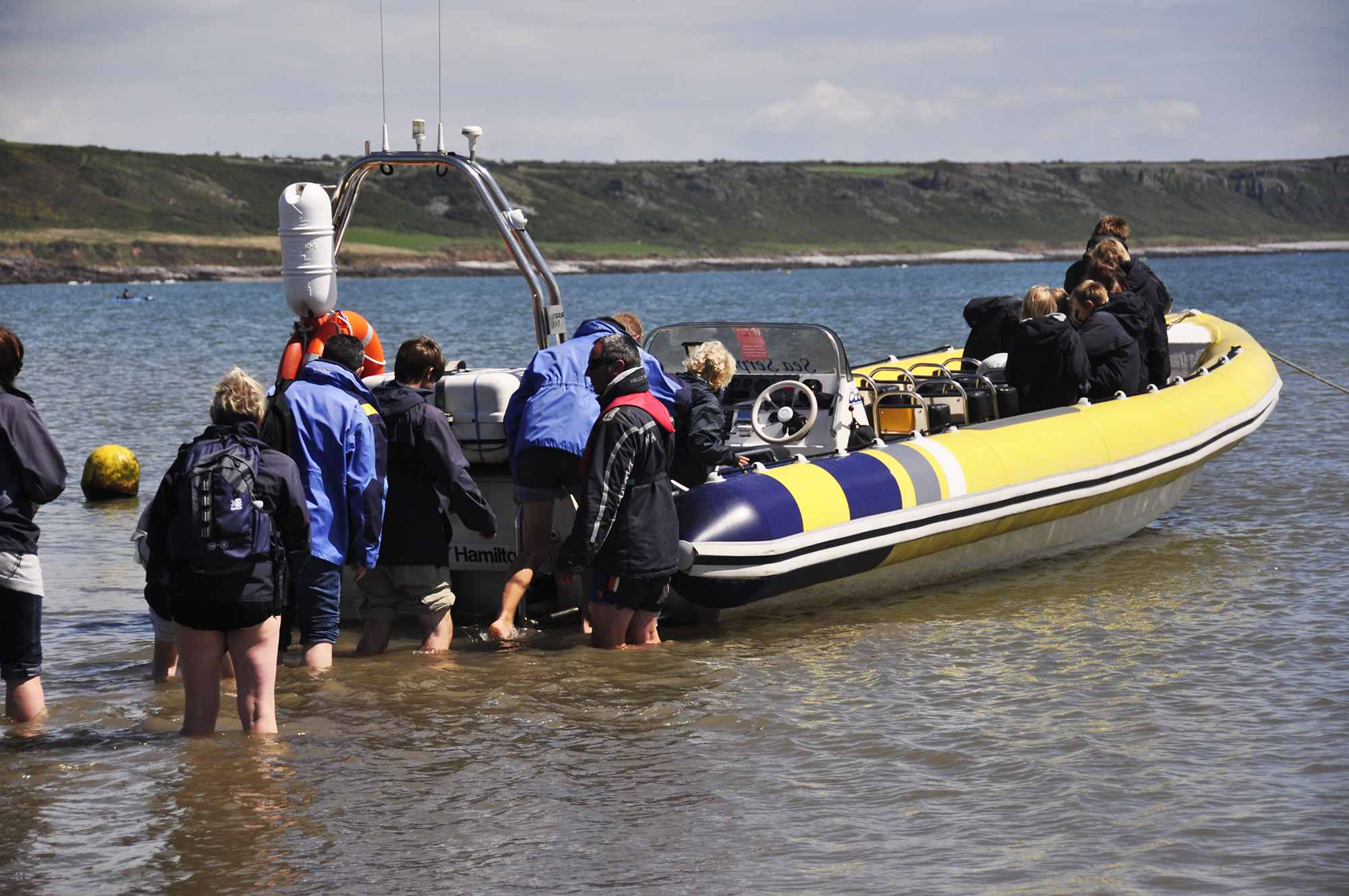 Passengers boarding the boat at Oxwich
